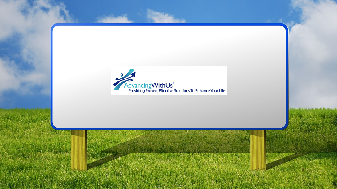 Billboard sign promoting business AdvancingWithUs