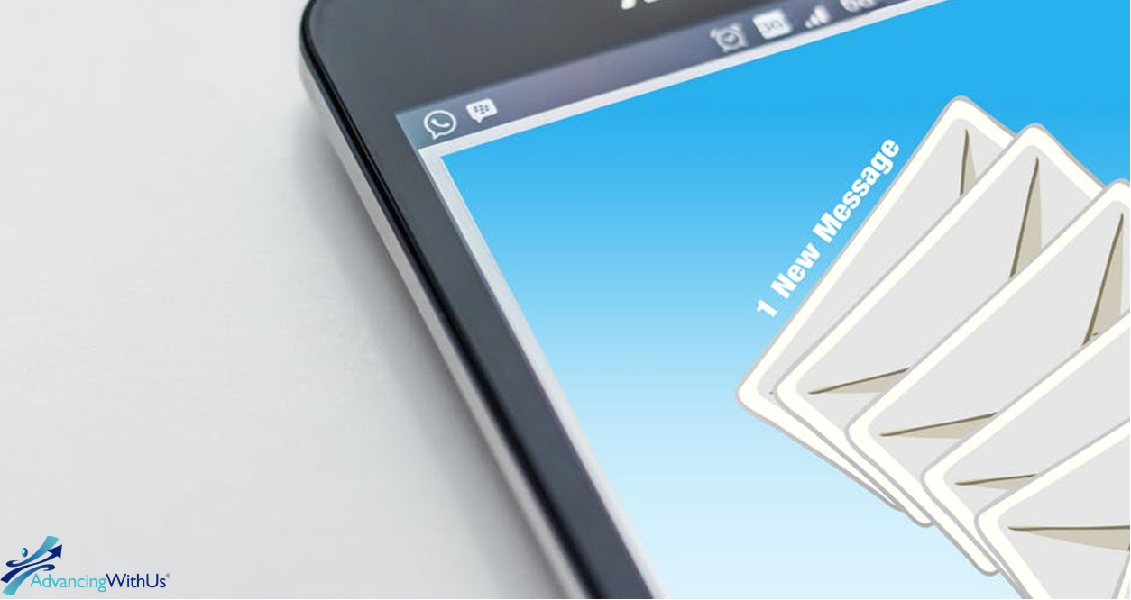 Email marketing messages on screen