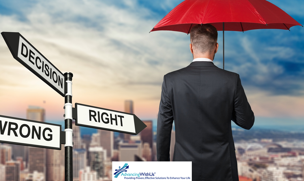 Man standing at decision point for right and wrong path, direct sales or MLM.