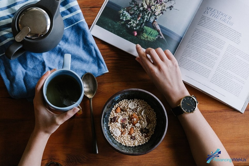 Morning routine with coffee, oats, and reading