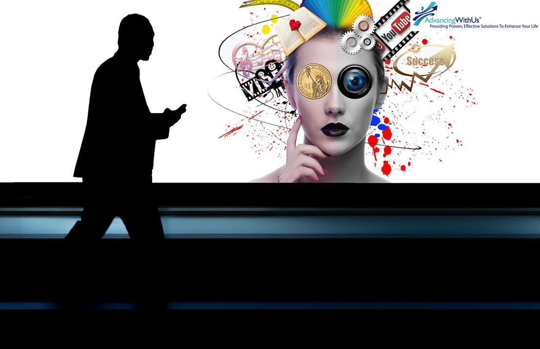 Businessman walking past social media for business with AdvancingWithUs