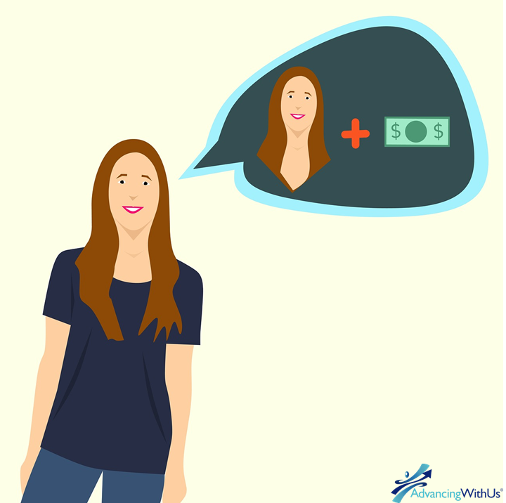 Girl thinking wealthy with AdvancingWithUs